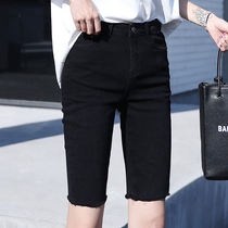 Black denim five-point pants Womens summer high-waisted shorts tide ins net red tight cycling pants thin 5 points in the pants thin section
