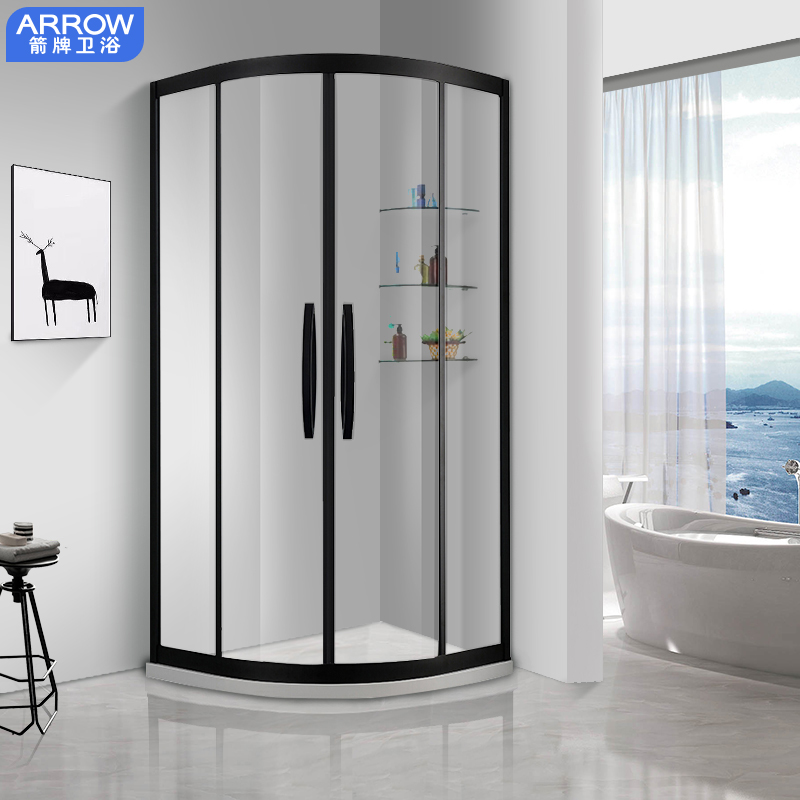 Wrigley black integral bathroom shower room tempered glass arc sector partition bathroom integrated closed bathroom