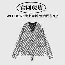 (Official website spot)we11done early spring knitted full printed LOGO wool cardigan double-sided sweater jacket female