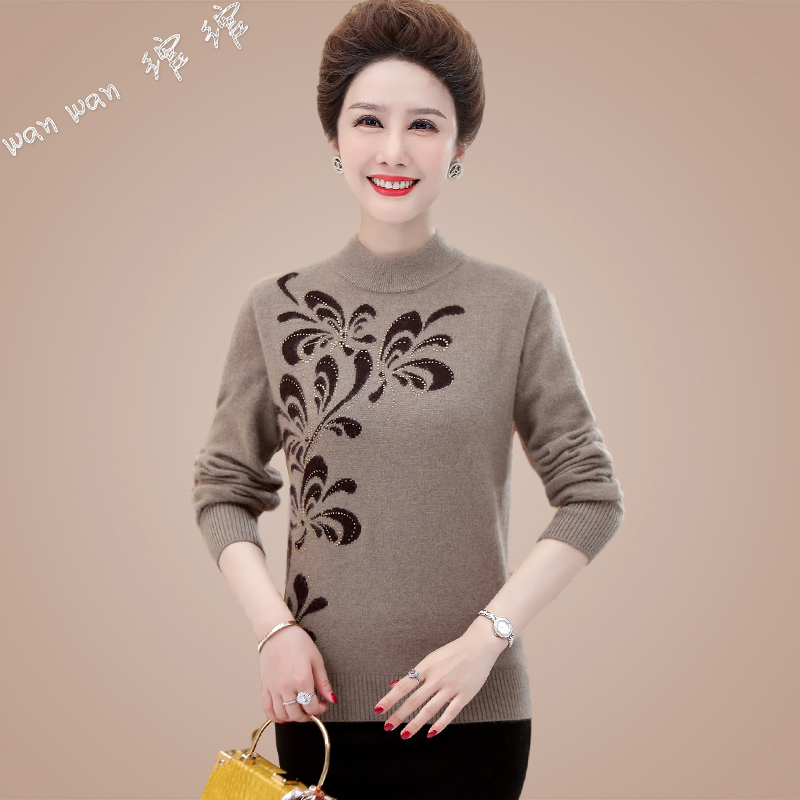 Autumn and winter new middle-aged fattening plus size sweater female mother installed cashmere top knitted wool bottoms