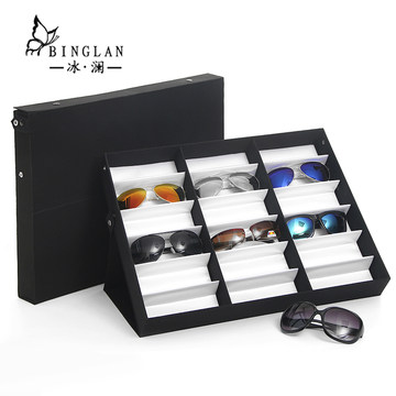 冰澜18位太阳镜收纳整理箱地摊眼镜展示盒格子铺墨镜货架道具
