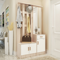 Entrance cloakroom shoe Cabinet hanger rack combination with mirror multi-function hall cabinet entrance partition cabinet Shoe Stool