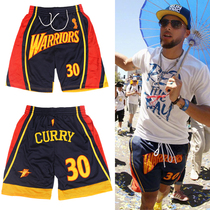 Warriors retro All-embroidery Basketball Pants Library No. 30th Casual Sports shorts Street basketball loose five-point pants