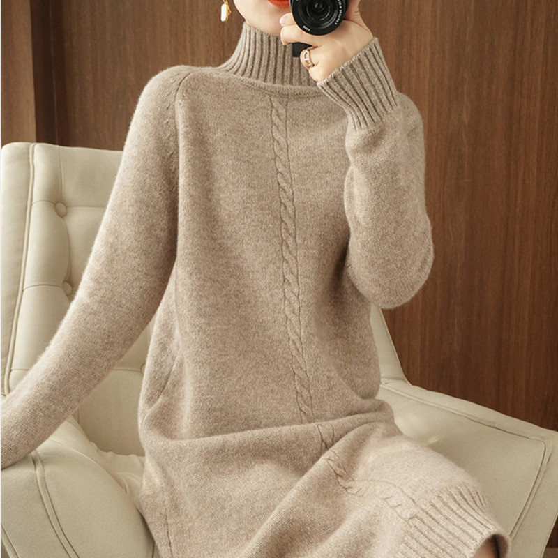Wool dress women autumn and winter model semi-high-neck knitted bottom skirt in the long version of loose lazy wind open fork sweater skirt
