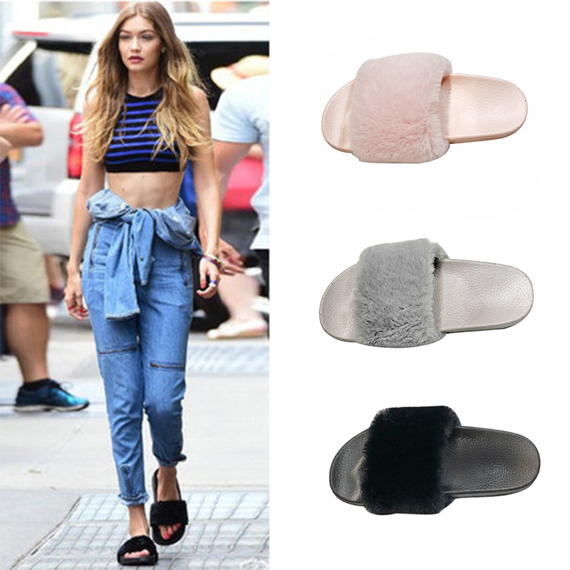 Jiebei net red hair slipper fashion wearing a hundred sets of Korean version of students insfeng word women's shoes in the fall and winter of 2018 new style