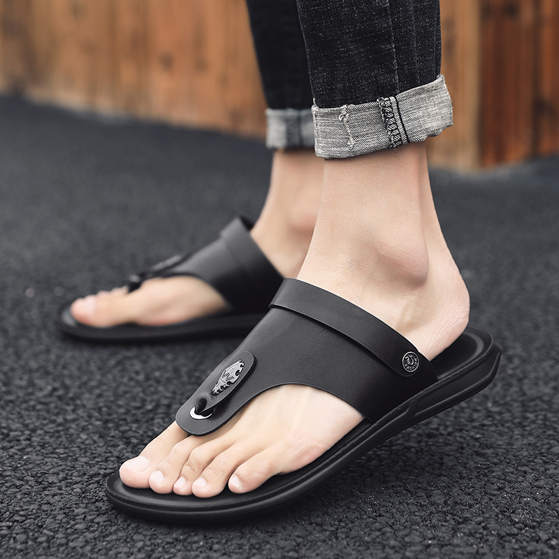 Roman Shoes, Men's Sandals, Korean Edition Fashion, Leather Sandals, Men's Summer Flip-flops and Driving Slippers