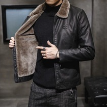 Flip collar leather mens tide brand 2020 winter new plush plus thick leather jacket short fur all-in-one warm jacket