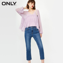 (Prefecture full gift) ONLY2018 Autumn New Middle-waist seven slim jeans female) 11836i504