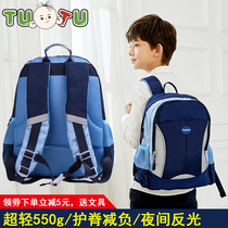 Illustration Elementary School student schoolbag 1-3-4-5-6 one two three four grade childrens school bags boys and girls to reduce the burden of protecting the ridge