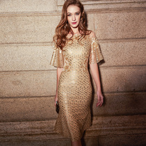 Banquet elegant gold sequined girl Party Dress