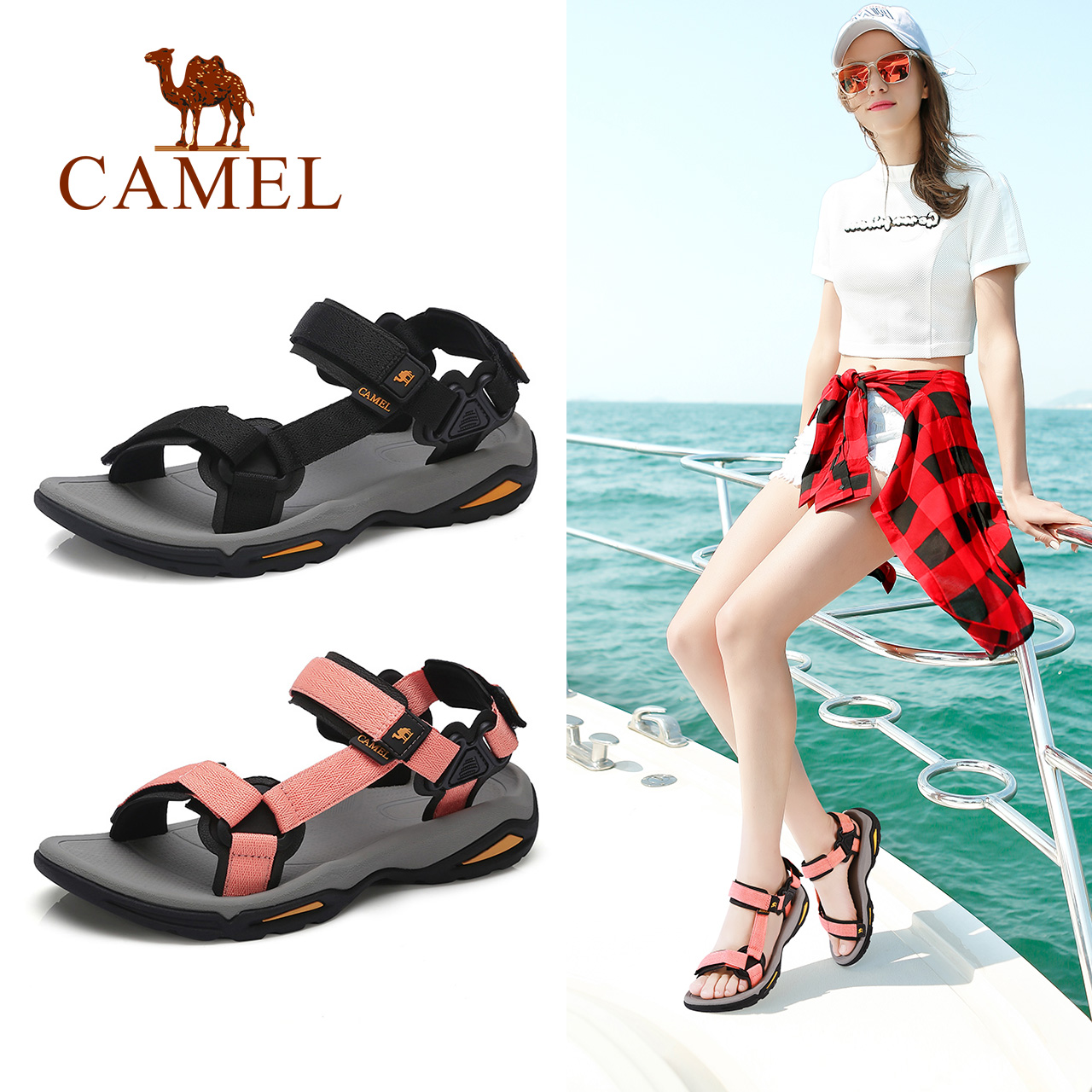 Camel Shoes Summer 2019 Simple Ribbon Fashion Beach Shoes Flat-soled Sandals Leisure Sports Sandals