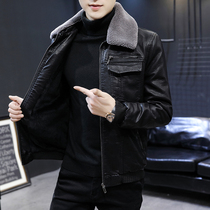 Mens leather leather winter plus plus thick 2020 new fur collar leather jacket Korean version of the short slim jacket tide