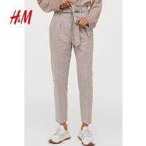 HM Womens Spring 2020 Womens Pants Thin Paper Bag Pants Loose High Waist Jeans Womens 0815902