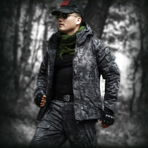 Wolf Stone Outdoor Army fan field police Black python tattoo camouflage man suit winter plus velvet thickened military wear-resistant uniform