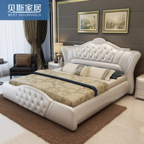 Leather bed double bed storage European Princess leather leather art modern wedding bed Zhuwo tatami bed