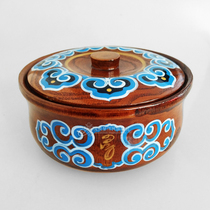 Mongolian characteristic tableware hand-painted wooden fried rice bowl Inner Mongolia characteristic solid wood bowl Mongolian dining Tableware