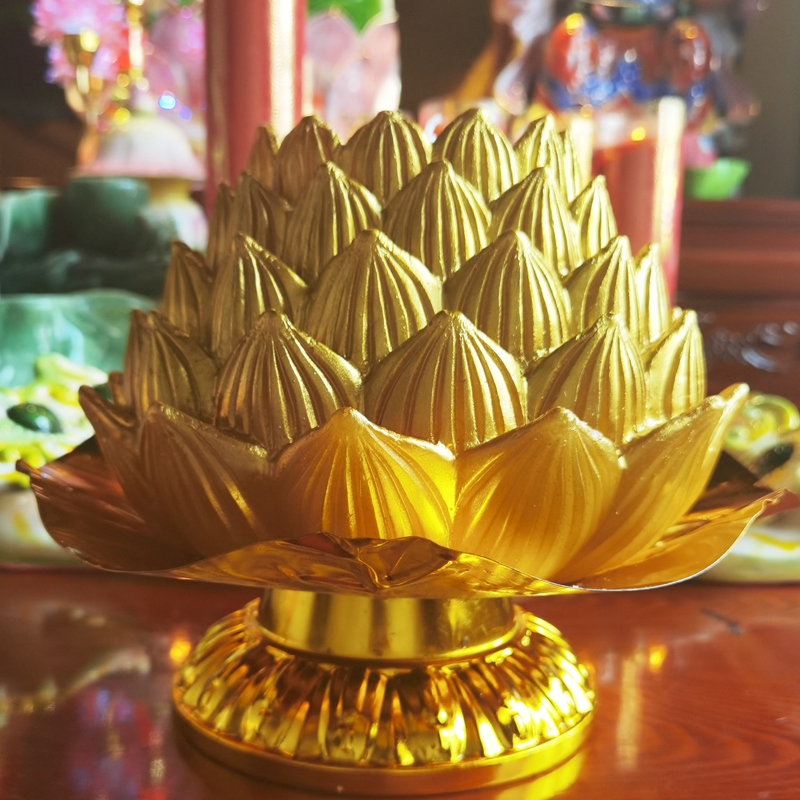 Make a wish also wish to light incense and pray for the lamp in addition to ear lighting the future Buddha light golden lotus