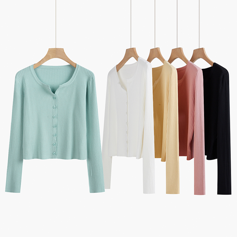 Yangcheng story v-neck knitwear women thin spring and autumn 2021 new item long-sleeved cardigan coat short blouse