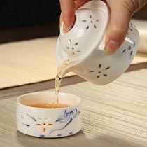 Lingling hollow ceramic express cup portable travel tea set Qinghua porcelain沖 teapot simple mini hand-grip pot