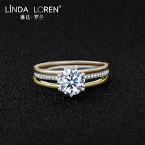 Linda Roland United States imports of D color Mo sang stone ring female 18k gold one carat three-color ring diamond ring female