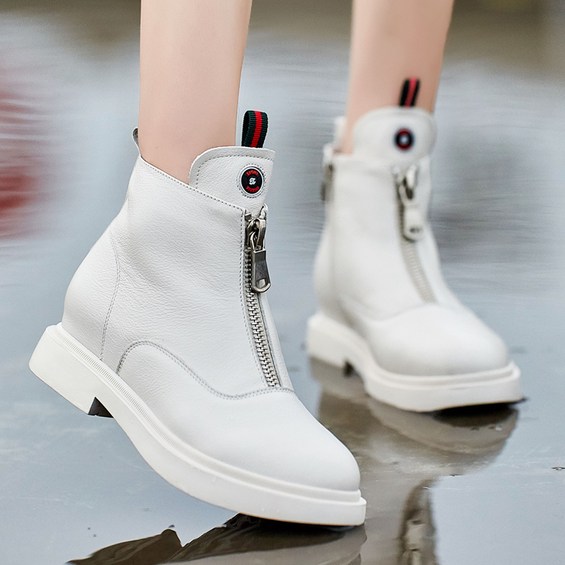 2018 autumn and winter new women's boots Korean version of the low-heeled leather Martin boots wild thick-soled boots fashion high-top shoes