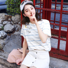 Two 69 Cotton T-shirts Short-sleeved Female Students'Loose Stripe Half-sleeve Clothes in Summer 2019