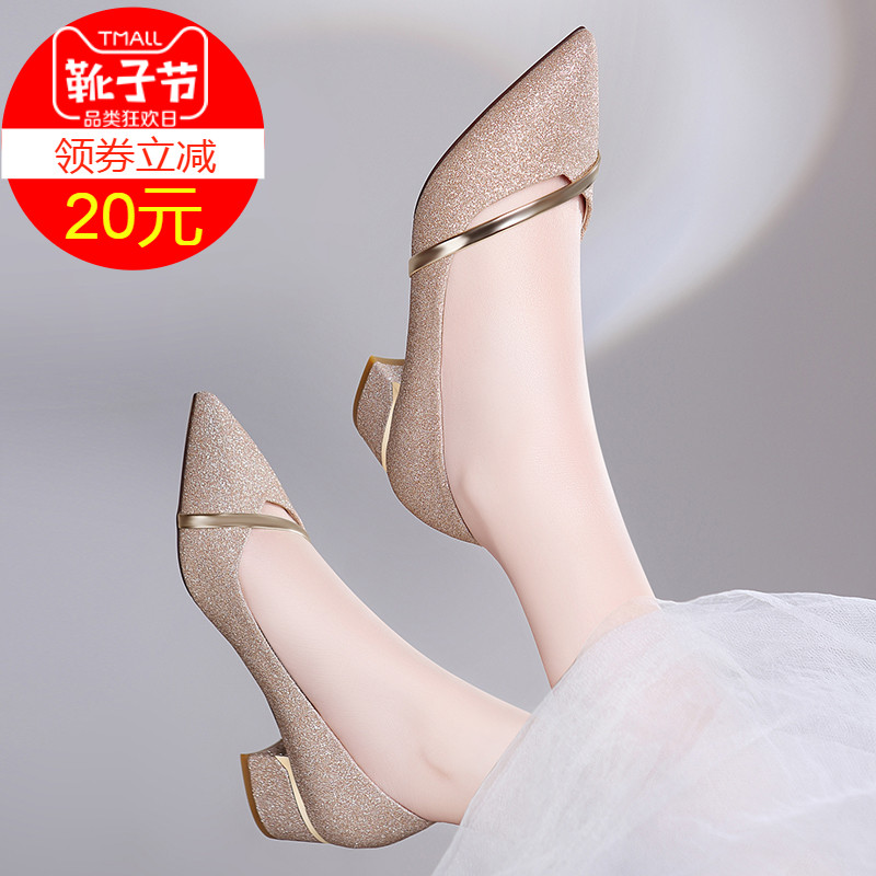 Rough-heeled Single-heeled Women's Autumn Shoes New Autumn Style Medium-heeled Small-heeled High-heeled Shoes