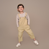 Ha tooth childrens clothing summer clothing new products Childrens men and womens retro pure cotton casual big ass bib pants Parent-child trousers