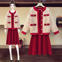 Plus size womens fat sister new years winter clothing cotton jacket loose red dress was thin two suits Hyuna
