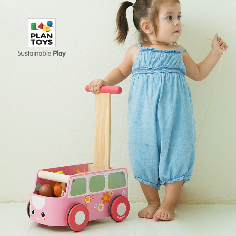 Original Imported PlanToys Bus Walker Baby Wood Adjustable Speed Resistance Baby Trolley