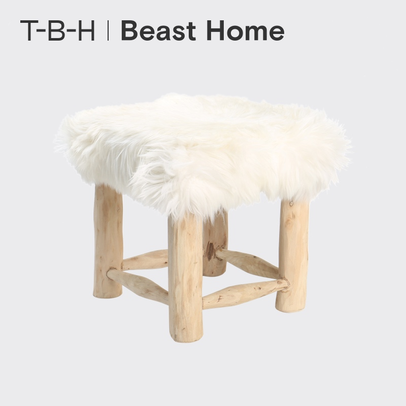 The BEAST/Fauvism Wooden House Sheepskin and Fur Square Bench Comfortable and Fashion Bench