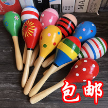 Childrens wooden sand hammer Kindergarten baby jumping dance prop sand ball baby early teaching music percussion instrument toys