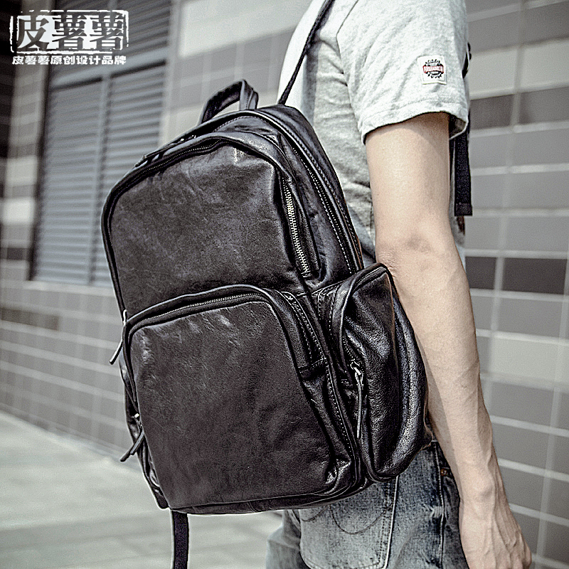 Large Leather Backpack planted tanned cattle hide men's shoulder bag large capacity schoolbag retro fashion top leather backpack
