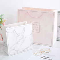 With the gift of simple marble gift bag gift box fashion paper bag high-grade carry bag