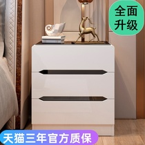 Glass face bedside cabinet simple modern white paint small cabinet bedroom bedside storage cabinet