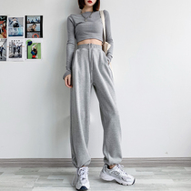 Gray sports pants womens loose bunch feet spring and autumn 2021 New slim drawstring straight wide legs casual pants
