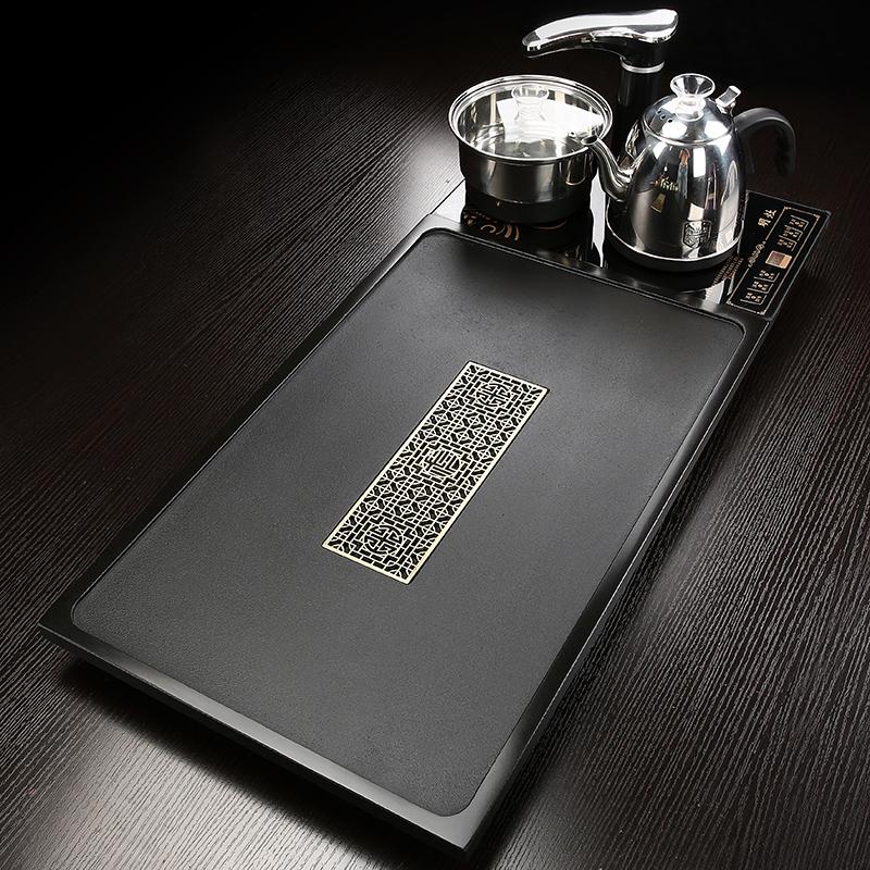 The whole stone wujin stone tea plate tea 託 the household drainage rectangular teapot simple fully automatic boiling water tea
