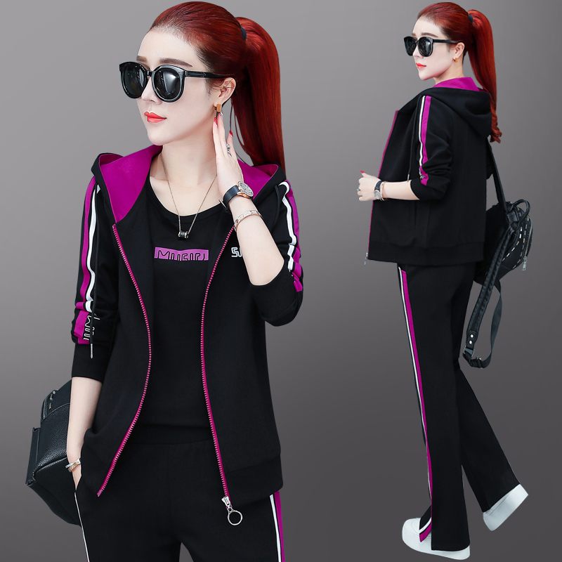 Sports suit womens spring and autumn 2021 new brand loose cotton tide brand fashion size casual clothes three-piece set