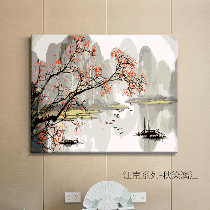 DIY Hand-painted Painting Digital Oil Painting Scenic Boat in South of the Yangtze River Chinese Ancient Style Decorative Oil Painting Living Room