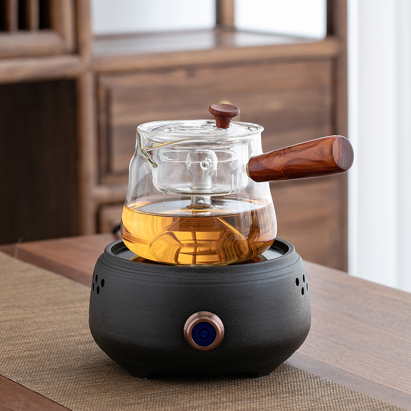 Tea maker set glass brewing teapot net red office cooking tea maker kettle home small black crystal oven