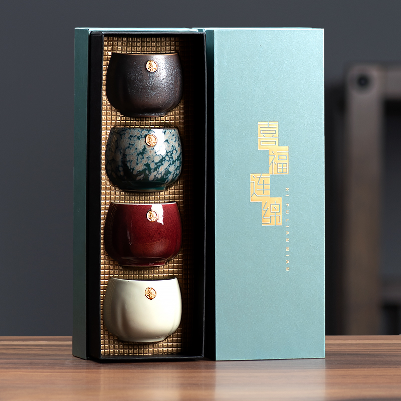Wu tea thing ceramic tasting cup gift box hand-painted gold kung fu small tea cup retro Chinese master cup tea lamp