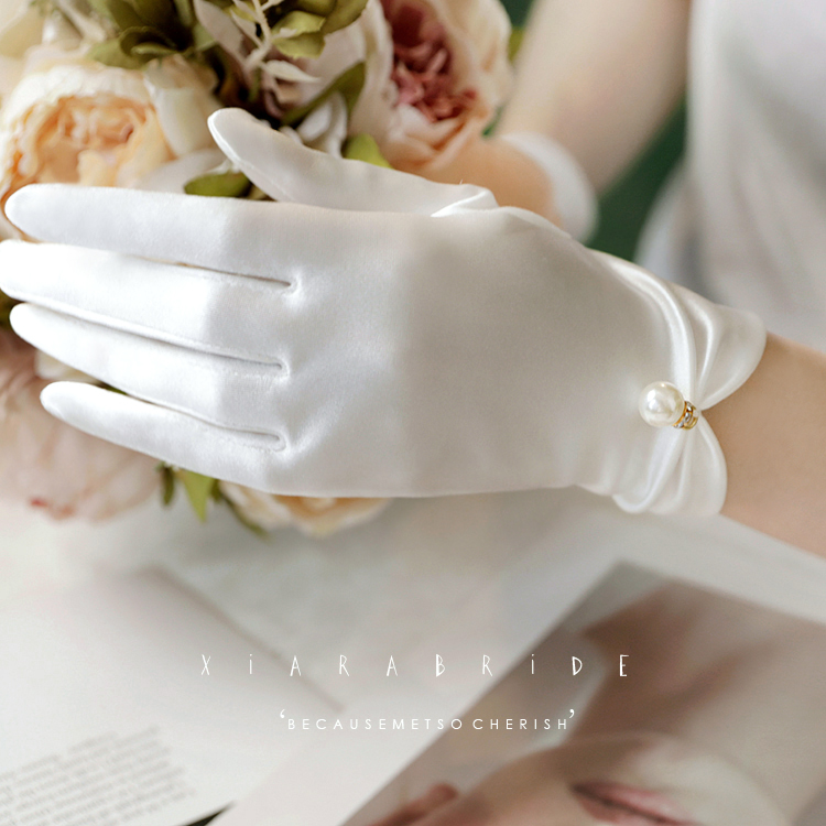 Shara hot selling original simple Satin pearl Gloves Wedding Accessories Wedding Gloves studio wedding accessories accessories