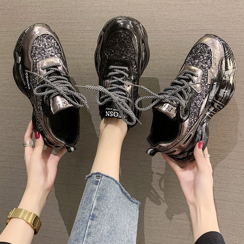 Autumn daddy shoes women 2020 autumn new all-match women's shoes rhinestone platform casual sports shoes ins tide shoes jp