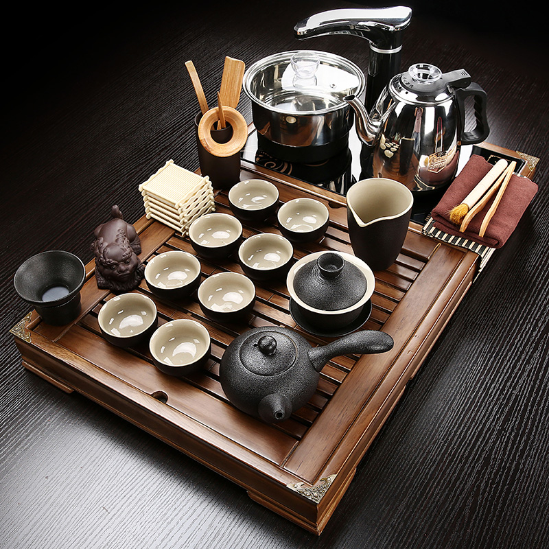 Tea set small solid wood tea plate four-in-one induction cooker kung fu tea table home living room simple office