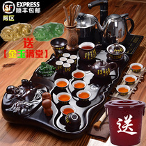 Porcelain rhyme Oriental tea set Household living room simple solid wood tea tray with automatic induction cooker tea table