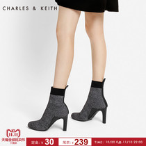 Charles&keith Winter Socks Boots female ck1-90920049 European style round head stiletto heel ankle boots