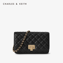 Charles & Keith new spring & summer ck2-70160078 diamond lattice metal chain women's shoulder bag