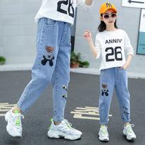 Девушки брюки дети стрейч джинсы свободные Дидди брюки 2020 новый большой ребенок воздуха весна прилив носить