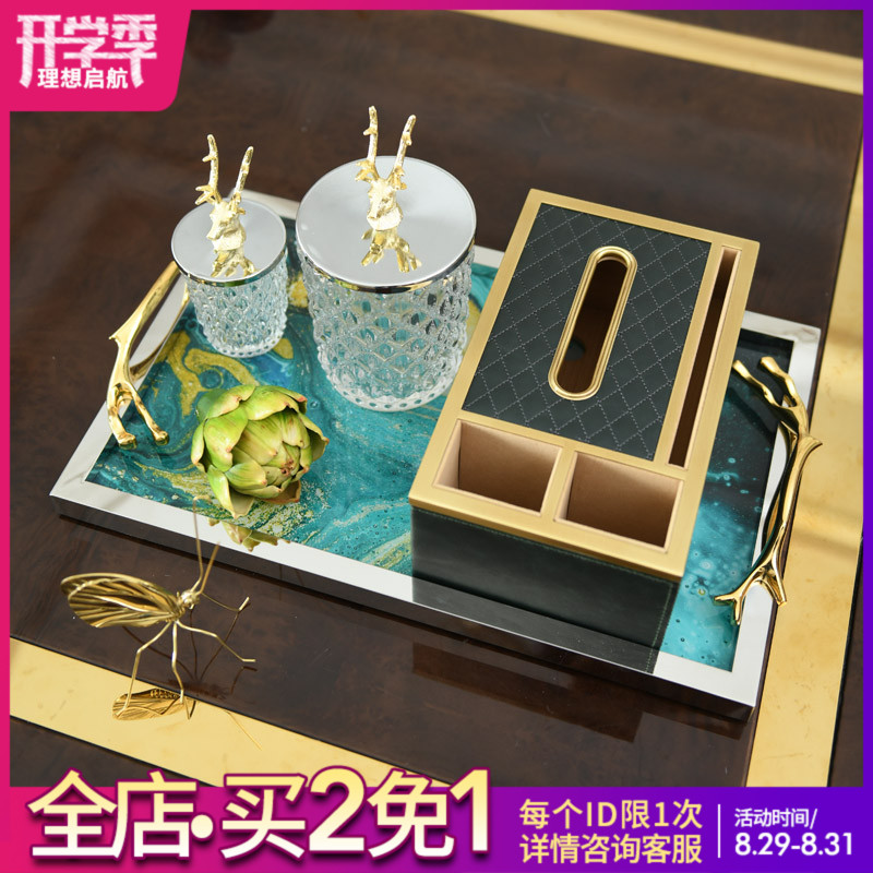 Soft Suit Set for Home Ornaments Euro-American Carton Drawing, Light Luxury Pallet, Towel Box Decoration, Table Candy Cans