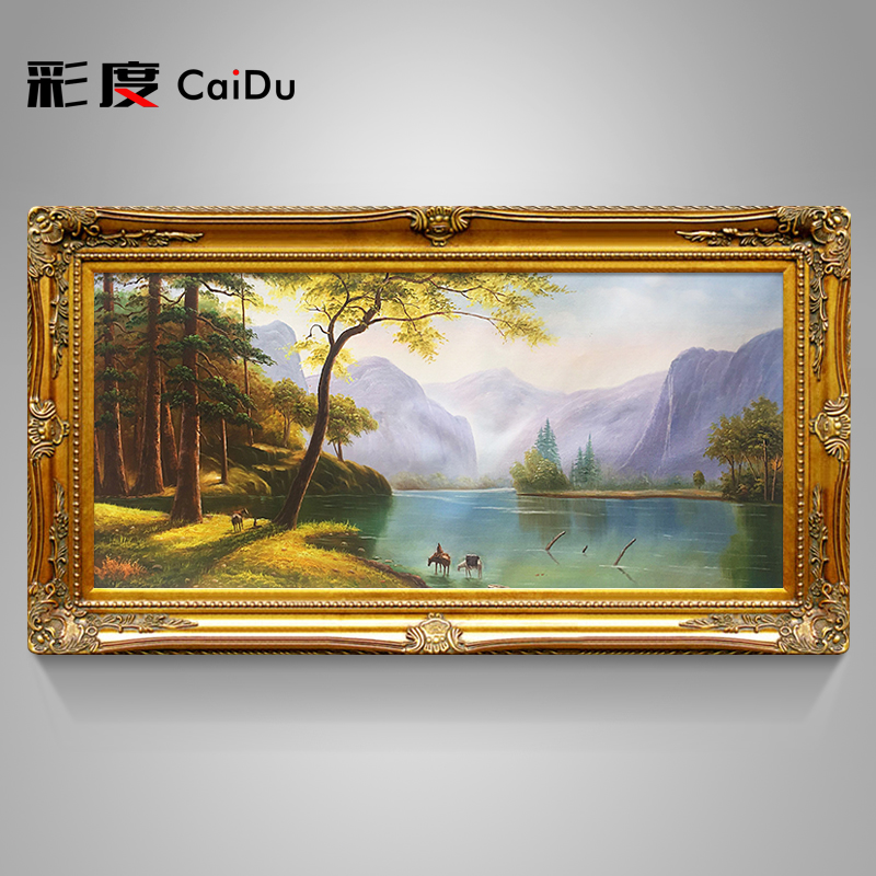 Pure hand-painted European-style scenic living room oil painting Jubao basin landscape bedroom hanging painting sofa background wall decoration